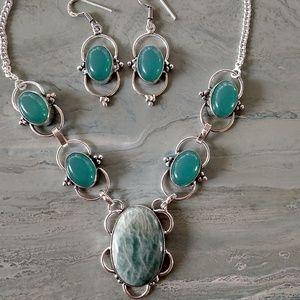 💥Weekend sale! Amazonite Chalcedony  necklace set